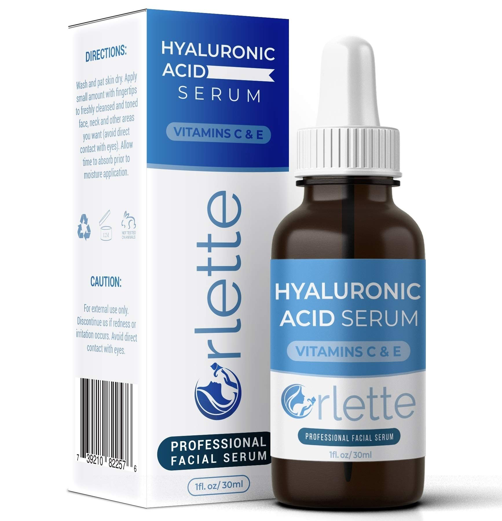 Orlette Hyaluronic Acid Serum Skin Care - Anti-Aging Treatment with Hydrating Vitamin C and Vitamin E - Hydration, Moisturizing and Fine Line Wrinkle Filler - Acne Scar Lightening, Face Plumper by Orlette