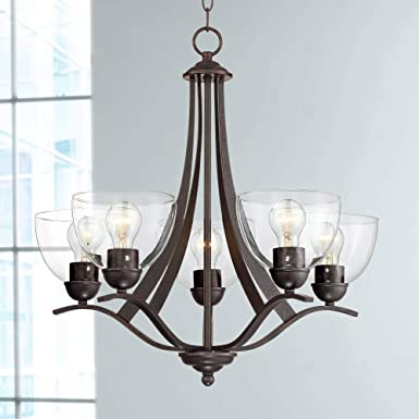 Airington 21 1 2 W Bronze and Clear Glass 5-Light Chandelier – Regency Hill