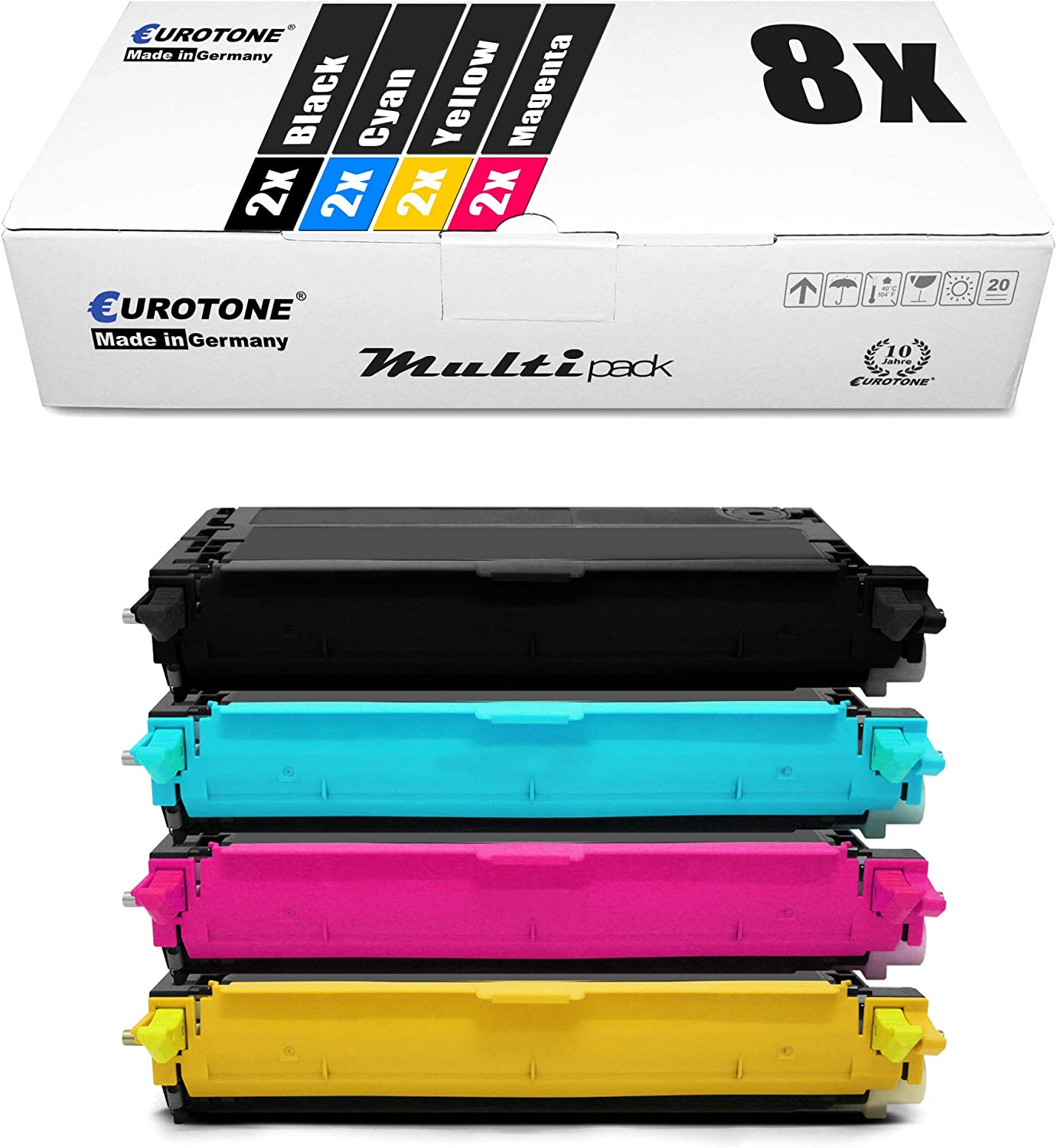 8X Eurotone Toner for Dell 3130 cn Replaces Black Cyan Magenta Yellow