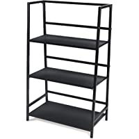 Atlantic 3 Tier Folding Shelf - Sturdy Tubular Design, Folds for Easy Storage PN38450335 in Black