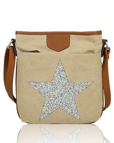 66718fe1a LeahWard Men's Women's Canvas Satchel Handbags Ladies School Messenger Bags  2039 160434 (Almond ...