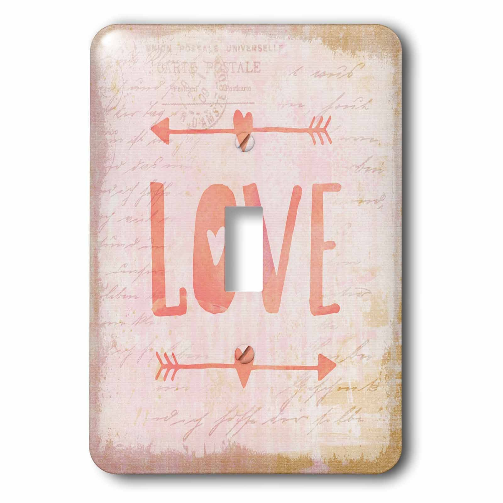 3dRose Andrea Haase Inspirational Typography - Word Love Typography Art With Arrows - Light Switch Covers - single toggle switch (lsp_282573_1)