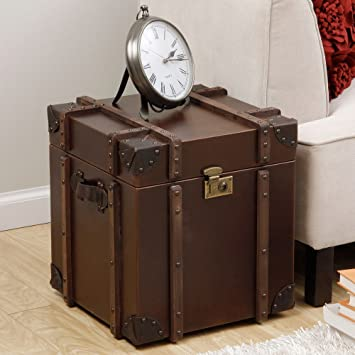 End Table Journey Vintage Tobacco Leather Trunk Side Table