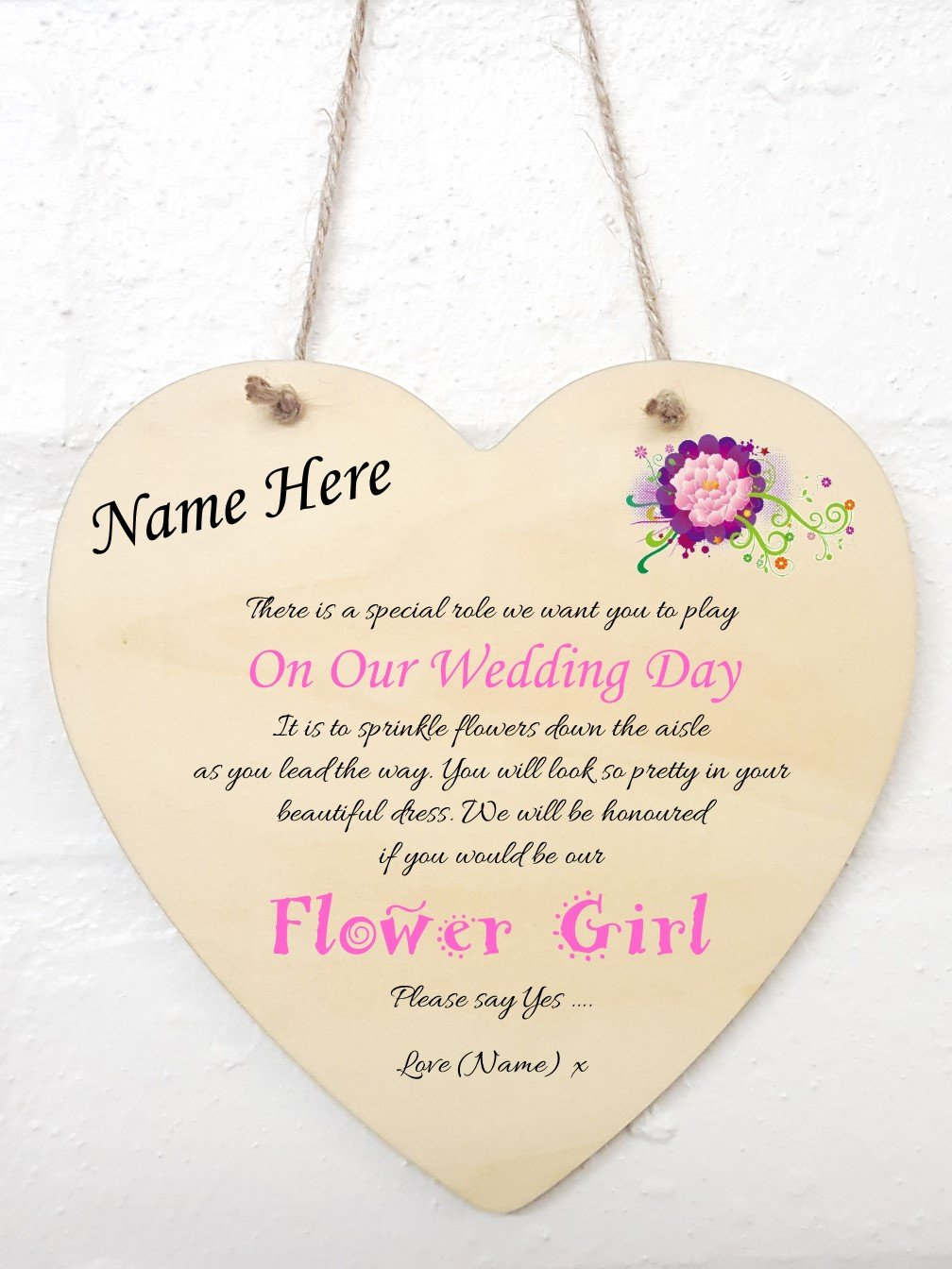 Personalised Will You Be My Flower Girl Heart Sign Plaque
