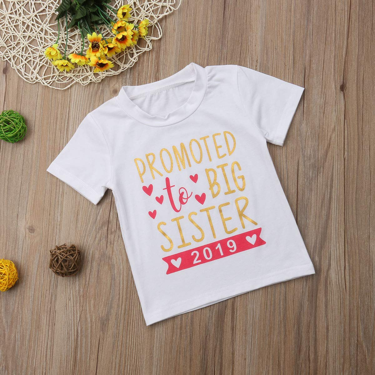 b2ca128f6 Gaono 2018 Baby Girl Clothes Outfit Big Sister Letter Print T-Shirt Top  Blouse Shirts larger image