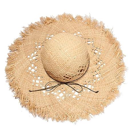 VORCOOL Cappello di Paglia Cappello a Tesa Larga Cappello per Il Sole  Cappello Estivo da Donna c14beabb9f19