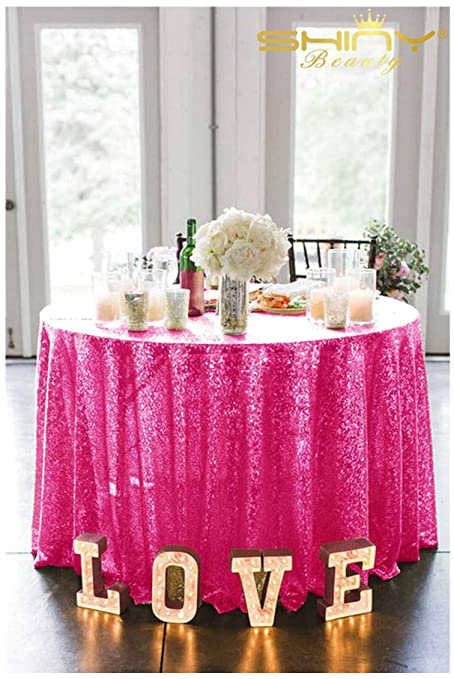 Charmant ShinyBeauty Sequin Fuchsia Table Cloth 90 Inch Round Tablecloth Hot Pink  Table Cloths For Parties~