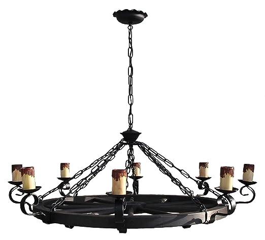 Lámpara rustica grande con rueda de carro 8 luces. Diámetro ...