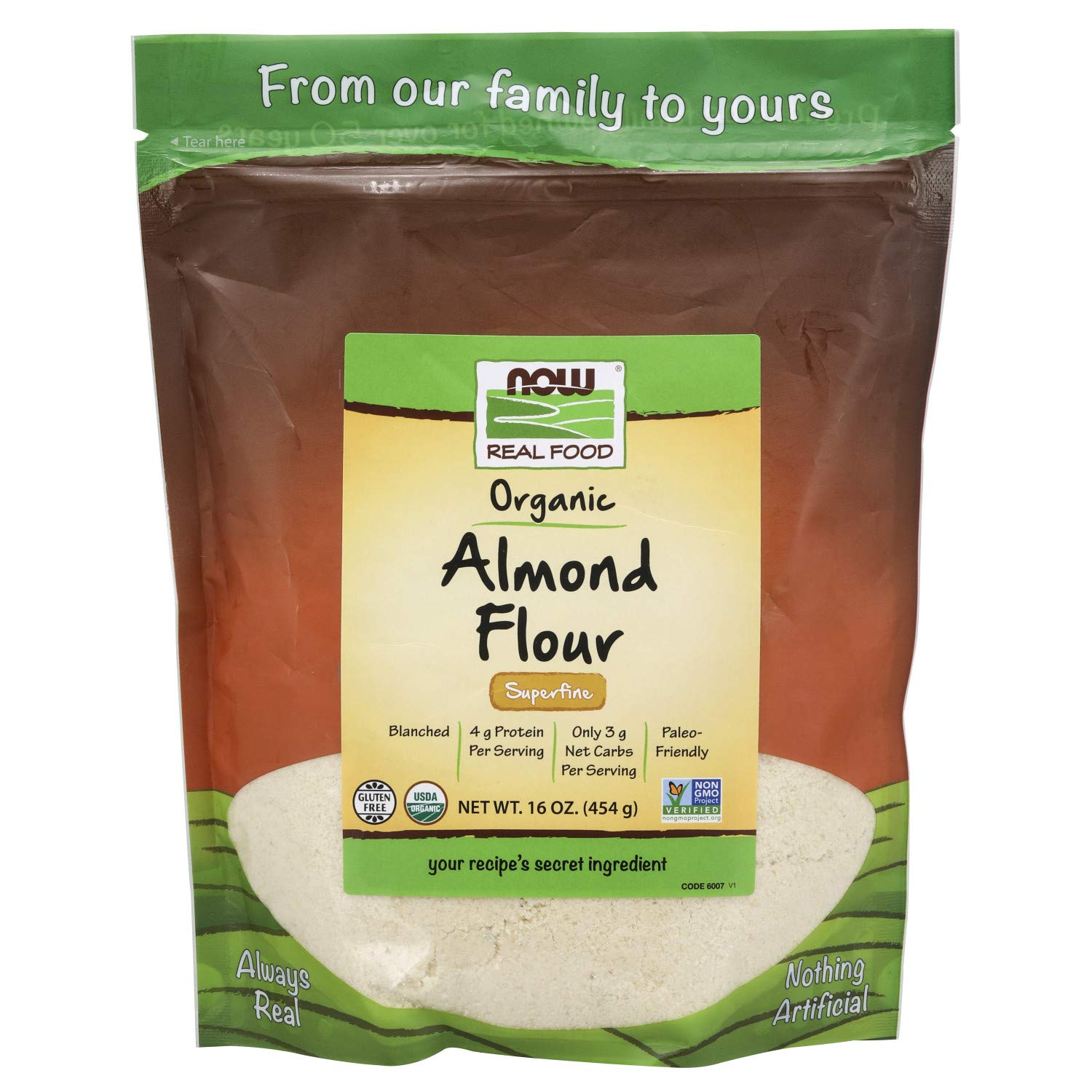 Now Natural Foods, Organic Almond Flour, Superfine, Blanched, Certified NON-GMO, 16 Oz
