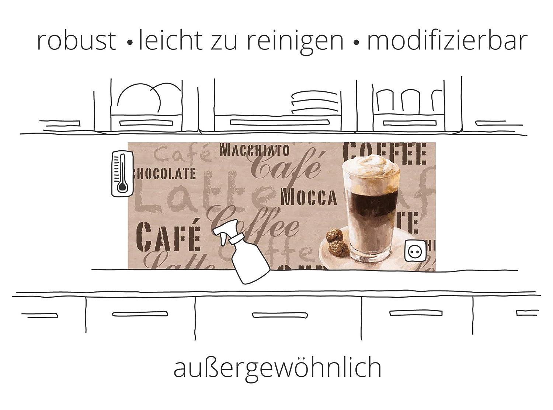 Artland Premium Spritzschutz K/üche I K/üchenr/ückwand Herd aus Alu-Verbundplatte BxH 60x50 cm sehr schnelle und einfache Montage Gemusterte Keramikfliesen