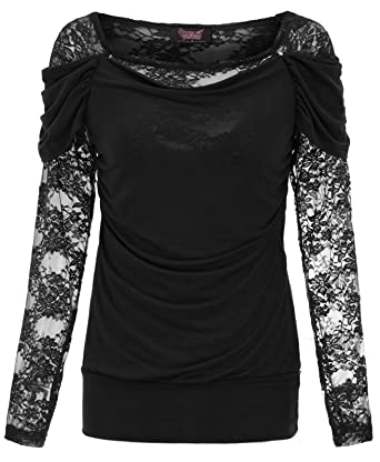 00b6576cb SCARLET DARKNESS Women Lady Lace Up Gothic Blouse Vampire Corset Jersey Top  Black S