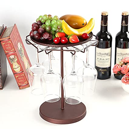 Homesave Soporte De Almacenamiento De Las Copas De Vino Exhibición Apilable 6 Copas De Vino Rojas