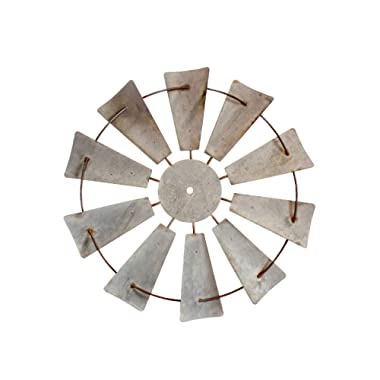 RUSTIC FARMHOUSE WINDMILL WALL DECOR -20  Galvanized round metal country magnolia farm wind mill home decor. Windmills design accent in Joanna Gaines fixer upper style for house walls kitchen barn art