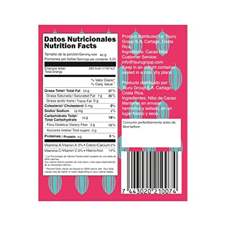 Amazon.com : Tsuru Premium Cacao Nibs from Costa Rica natural sugar free, 8, 8 oz : Grocery & Gourmet Food