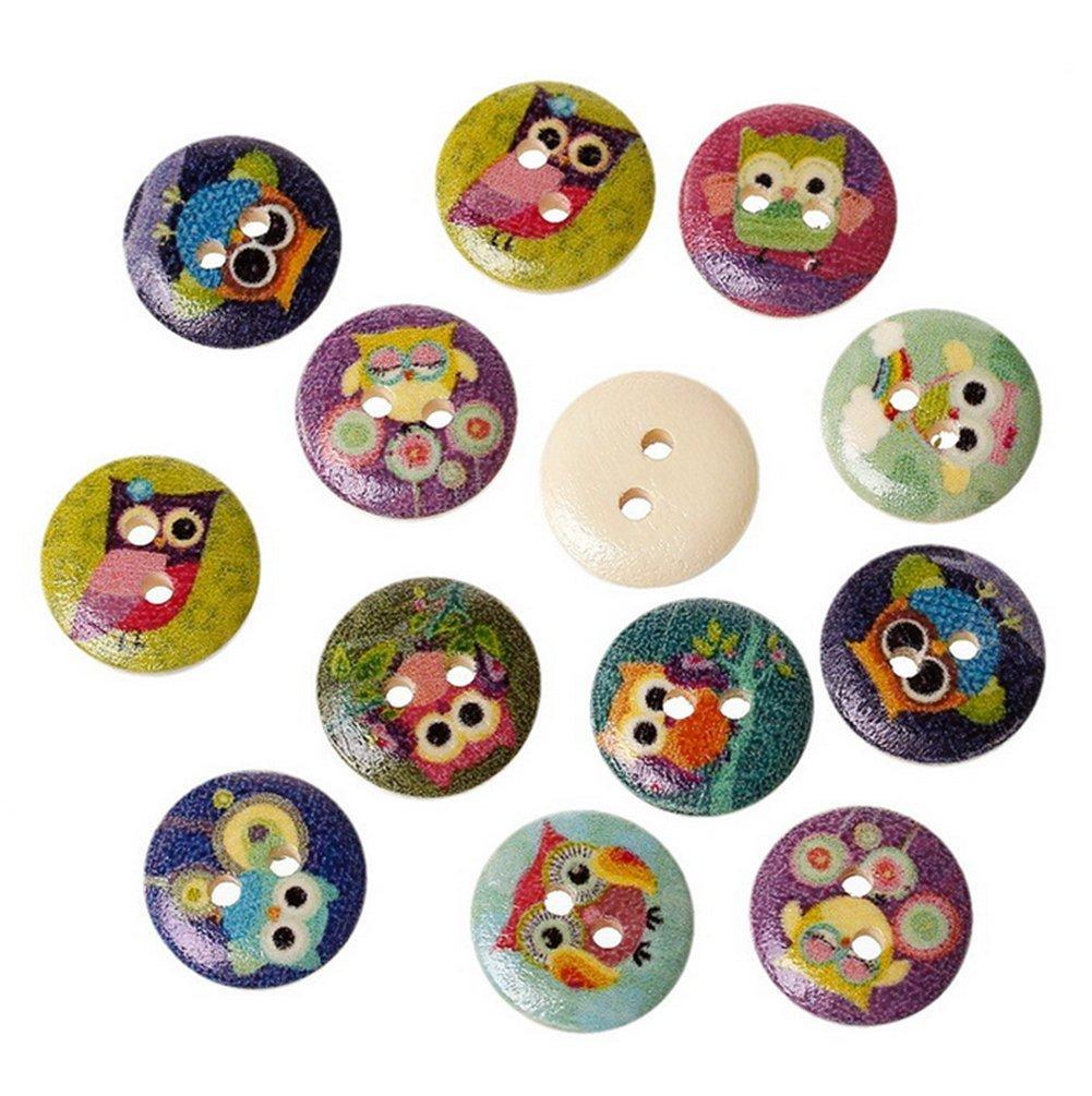 Gespout 50pcs Bottoni in Legno di Gufo gemello colore diverso 1.5cm