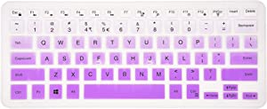 Keyboard Cover Compatible Dell Inspiron 13 5000 7000 Series 5368 i5378 7370 7373 7368 7378 7380 7386, Dell Inspiron 15 5568 5578 7568 7570 7573 7580 7586, XPS 15-9550 9560 9570 Laptop - Gradual Purple