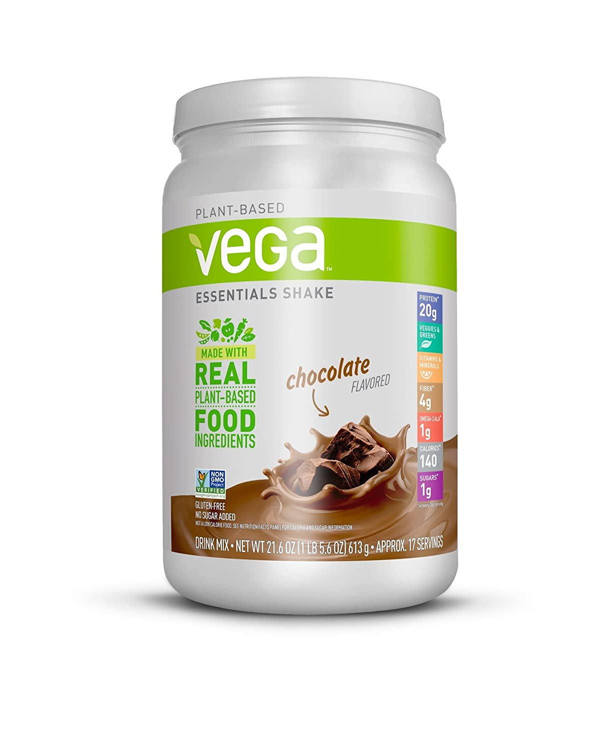 Vega Essentials Shake Chocolate 17 Servings, 21.6 Ounce – Plant Based Vegan Protein Powder, Non Dairy, Gluten Free, Smooth and Creamy, Non GMO