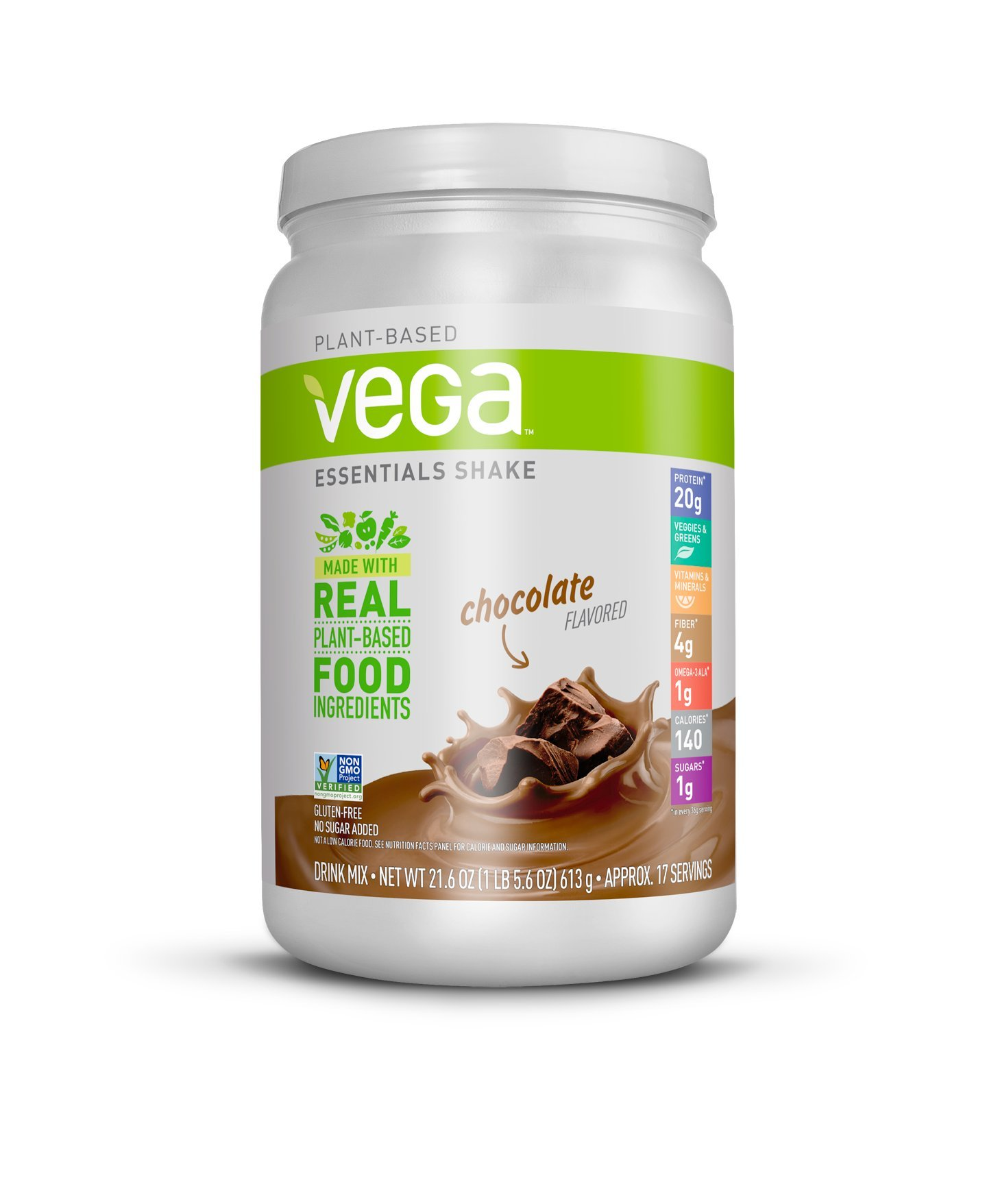 Vega Essentials Shake Chocolate(17 Servings, 21.6 oz.) - Plant Based Vegan Protein Powder, Non Dairy, Gluten Free, Smooth and Creamy, Non GMO by VEGA