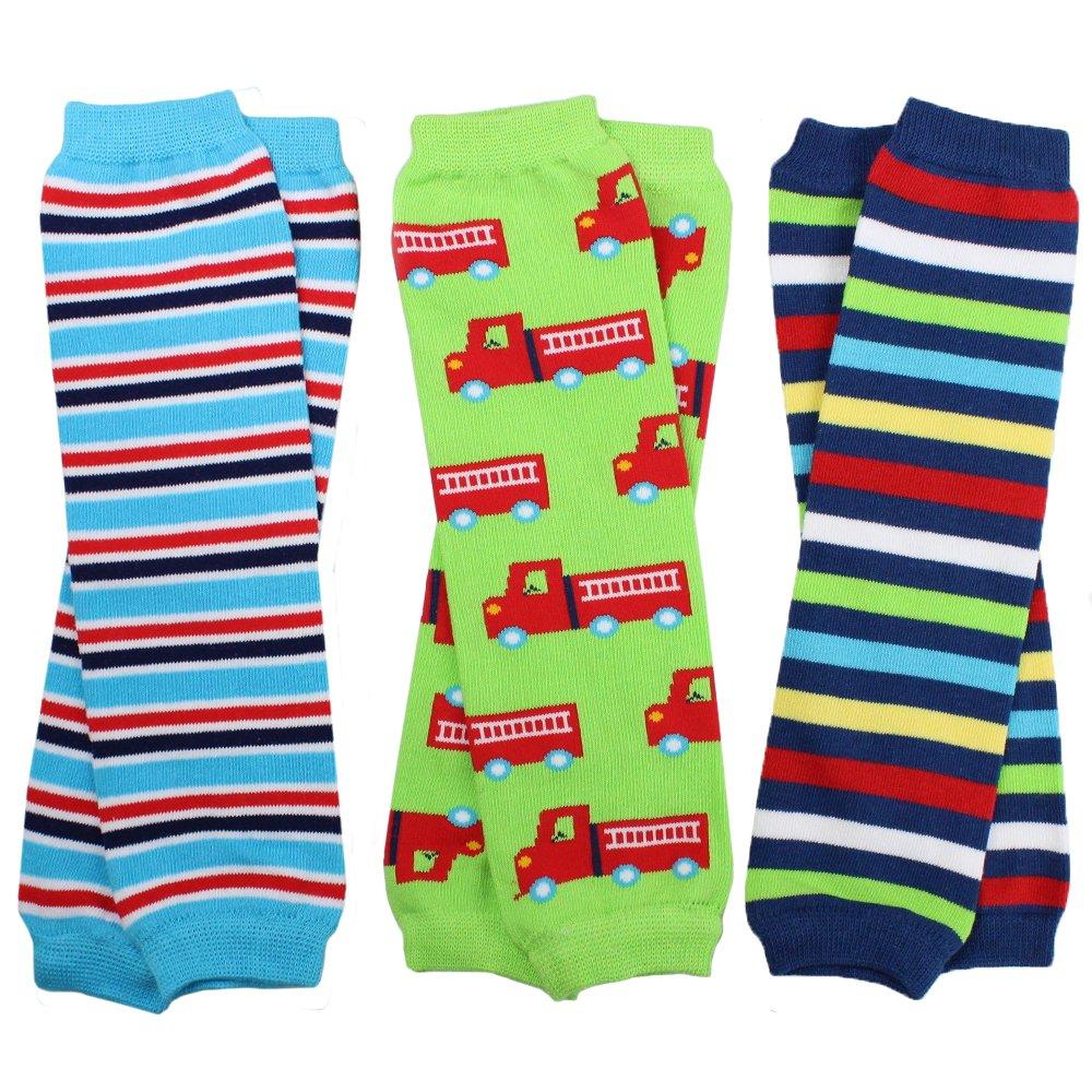 juDanzy 3 Pair Baby Boy Leg Warmers stripes, firetruck
