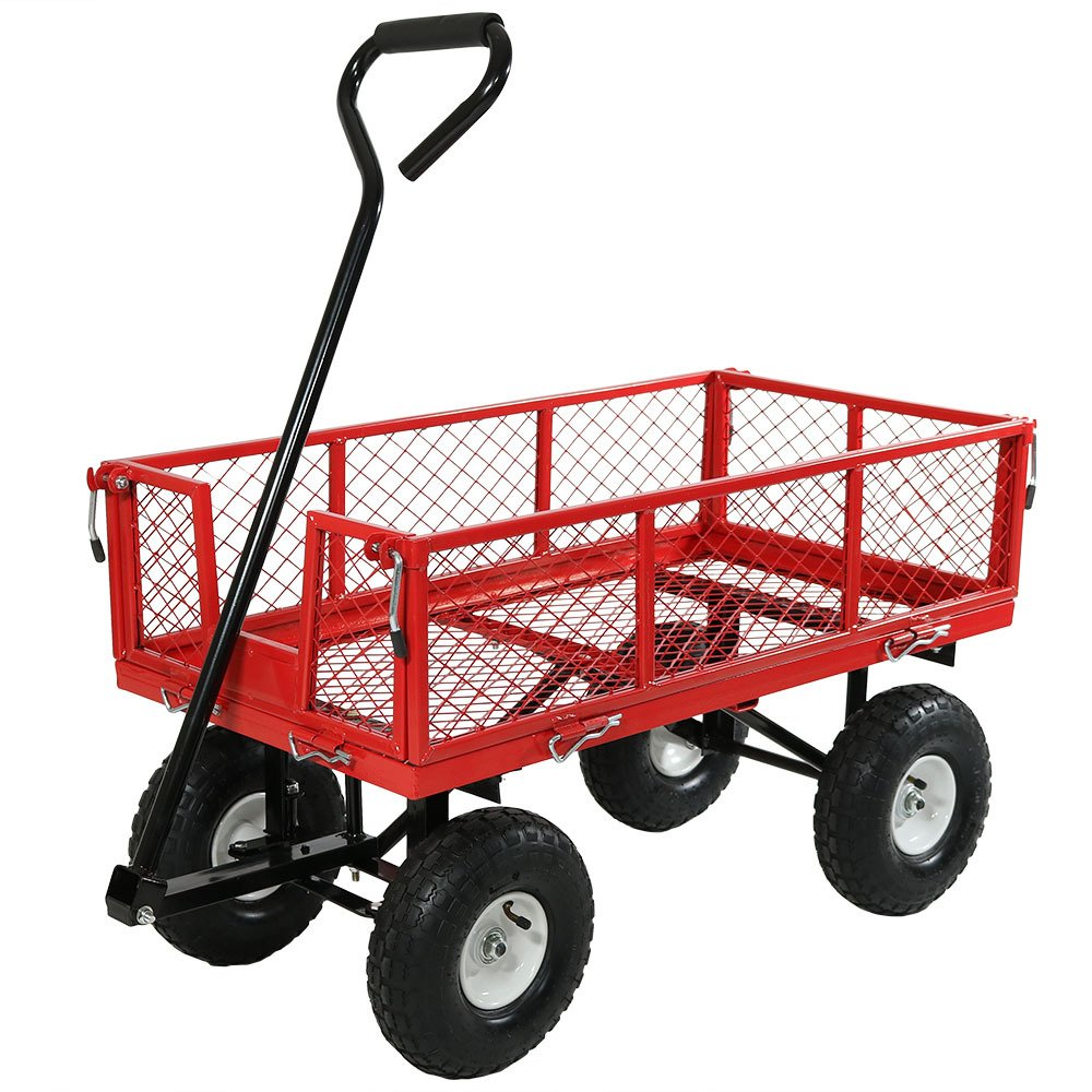 Sunnydaze Utility Garden Cart with Removable Folding Sides, Heavy-Duty 400 Pound Weight Capacity, Red