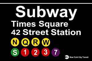 Metal tin Sign 8x12 inches TIN Sign Subway Times Square Street Metal New York Garage