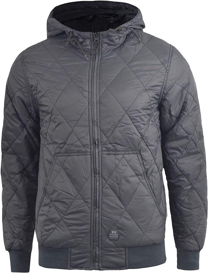 Zip Pockets Mens Crosshatch Quilted Padded Hood Jacket Fleece Lined Winter Coat