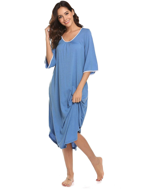 Ekouaer Long Nightgown,Women/'s Loungewear Short Sleeve Sleepwear Full Length Sleep Shirt with Pockets EKV006985