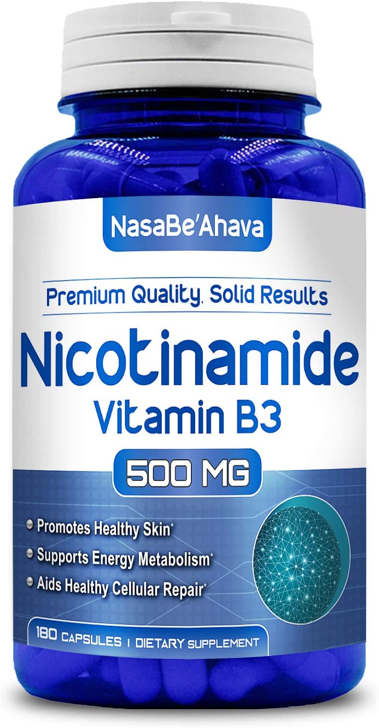 NasaBeahava Nicotinamide 500mg (180 Veggie Capsules) Vitamin B3 - NAD Booster to Support NAD, Anti Aging DNA Repair, Skin Cell Health & Energy, (Niacinamide Flush Free)