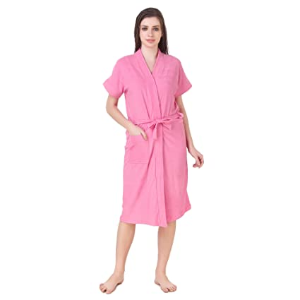 BOMBSHELL Women's Soft Terry Towel Cotton Plain Bathrobe -Free Size, Light Pink