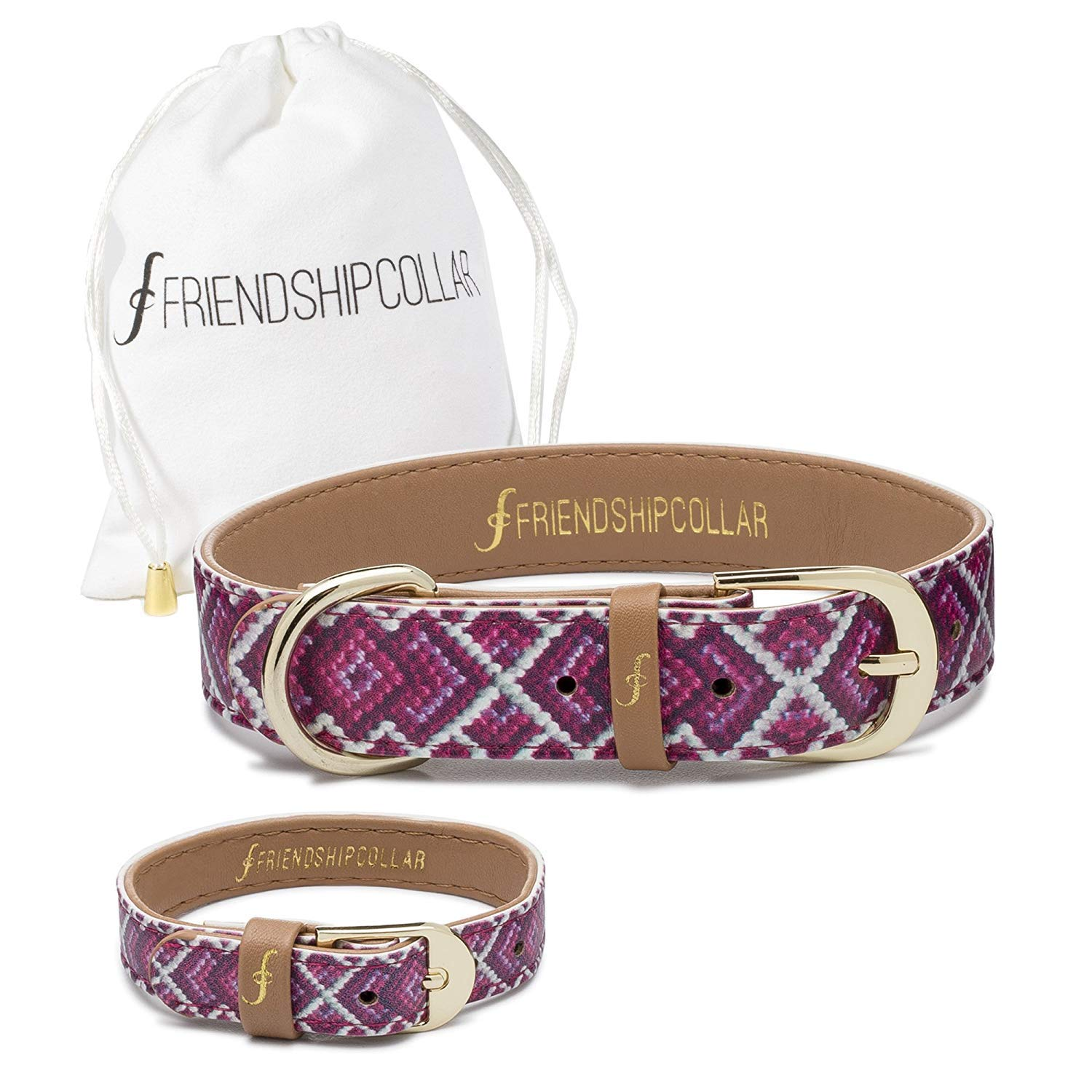 FriendshipCollar Dog Collar and Matching Bracelet - The Pink Princess - Large by FriendshipCollar