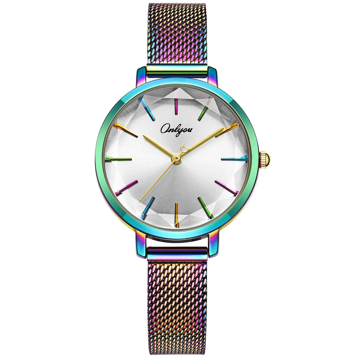 ONLYOU Women's Fashion Watches,Unique Face Design and 30M Waterproof,Analog Quartz Wristwatches with Stainless Steel Mesh Band (Colorful)