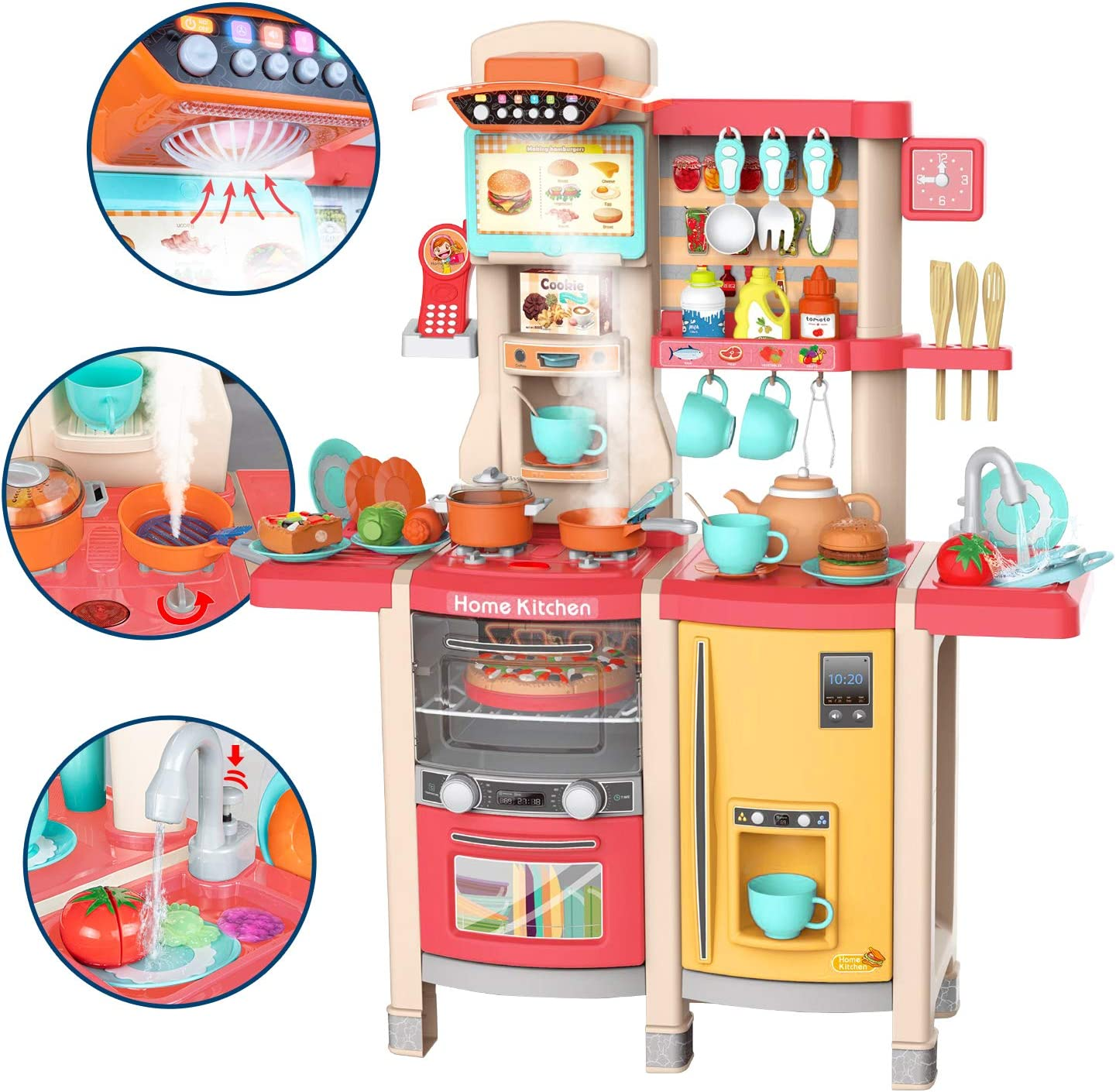 UNIH Kitchen Toy for Girls Pretend Pink Kitchen Playset Toddler Toy with Realistic Lights & Sounds,Play Oven & Sink,Coffee Toy Set,Kids Phone and Other Kitchen Accessories Toys for Kids Gift