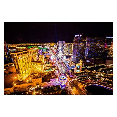 Aerial View of las Vegas Strip at Night Famous Resort Stock Pictures 1000 Piece Wooden Jigsaw Puzzle DIY Children Educational Puzzles Adult Decompression Gift Creative Games Toys Puzzles Home Decor: Toys & Games