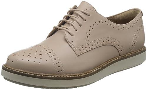 Clarks Glick Shine, Zapatos de Cordones Oxford para Mujer, Marrón (Light Tan Lea), 40 EU