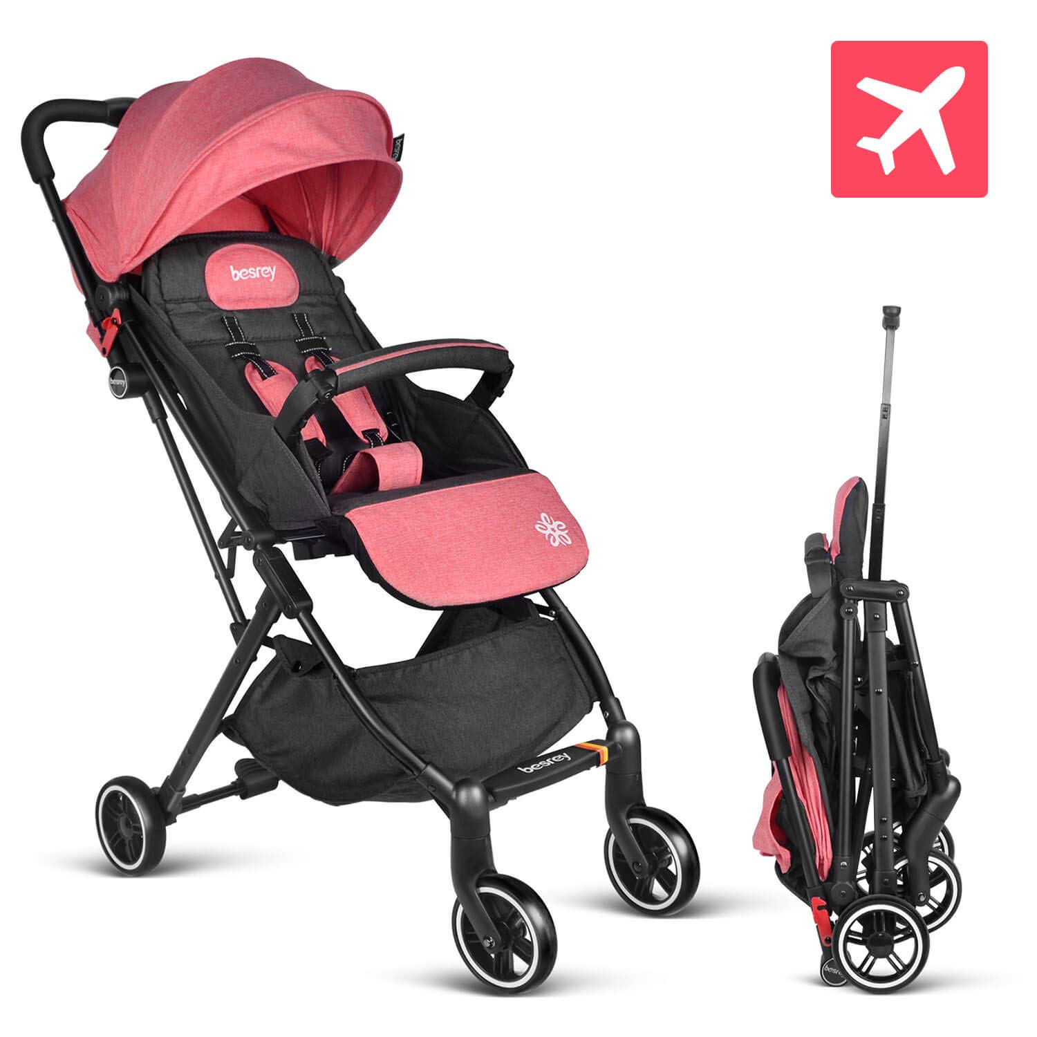 besrey Baby Stroller Pram Baby Carriage Reclining Seat for Airplane Compartment - Pink