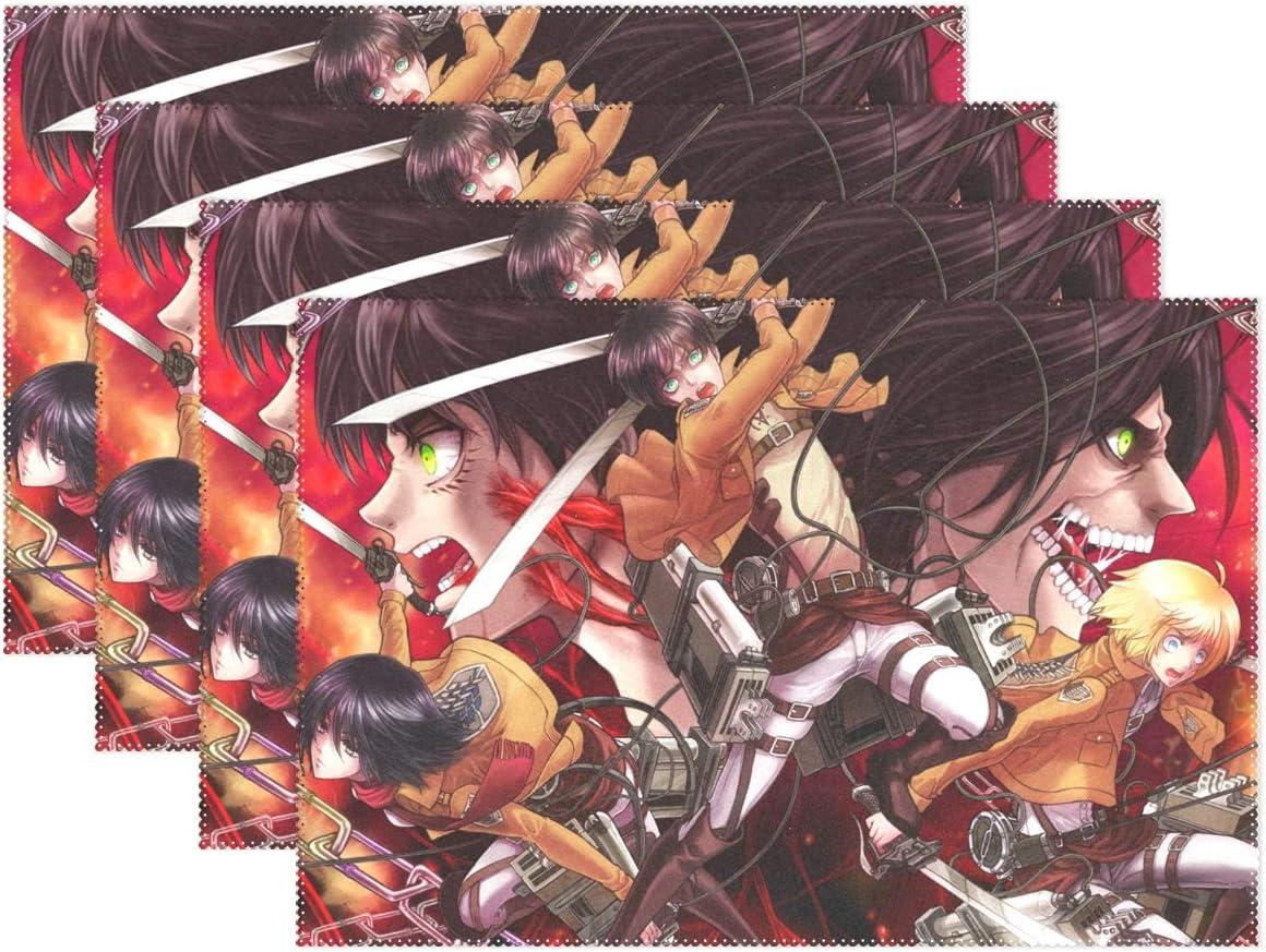 YMXHUR Attack On Titan - Manteles Individuales para Mesa de Cocina, poliéster, Resistentes al Calor, Juego de 4 Unidades, 45,7 x 30,5 cm: Amazon.es: Hogar