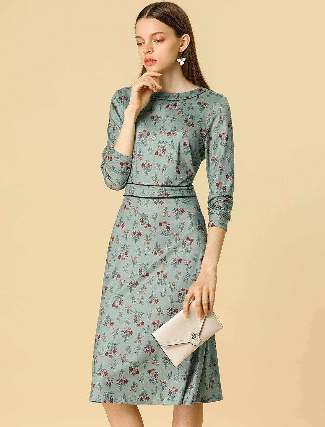 500 Vintage Style Dresses for Sale | Vintage Inspired Dresses Allegra K Womens Floral Long Sleeve Crew Neck Contrast Piped A-Line Vintage Dress $22.99 AT vintagedancer.com