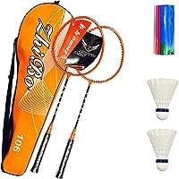 HyAiderTech Raquette de Badminton, Badminton Racket Set avec 1 Étui de Protection de Qualité Supérieure + 2 Badminton Durable avec Étui de Rangement, Jeu en Famille, Divertissements en Plein Air