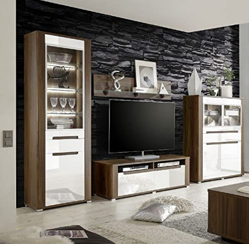 Dreams4Home Wohnzimmer Set U0027Polli Iu0027   Set, Vitrine, Highboard, TV
