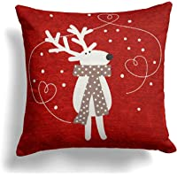 "Christmas Cushion Cover, Luxury Chenille Christmas Cushion Covers, Modern Festive Xmas Designs, 18"" x 18"", 45cm x 45cm, Red"
