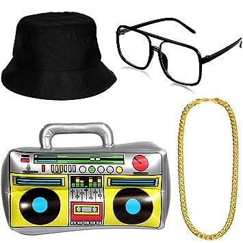 Amazon.com: Hip Hop - Kit de disfraz de sombrero y gafas de ...