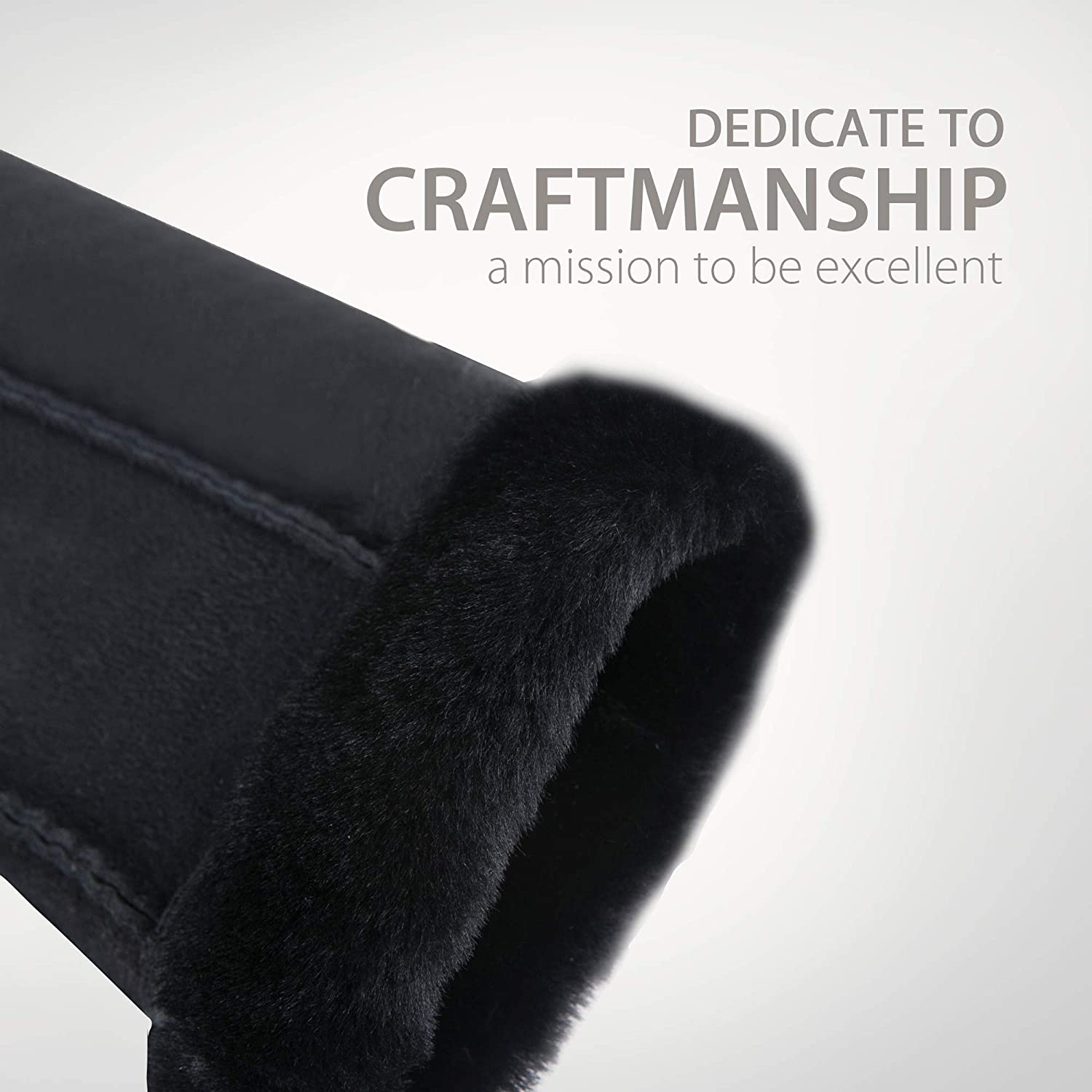 YISEVEN Mens Winter Sheepskin Shearling Leather Gloves Flip Cuff Charm Leather Fashion Company
