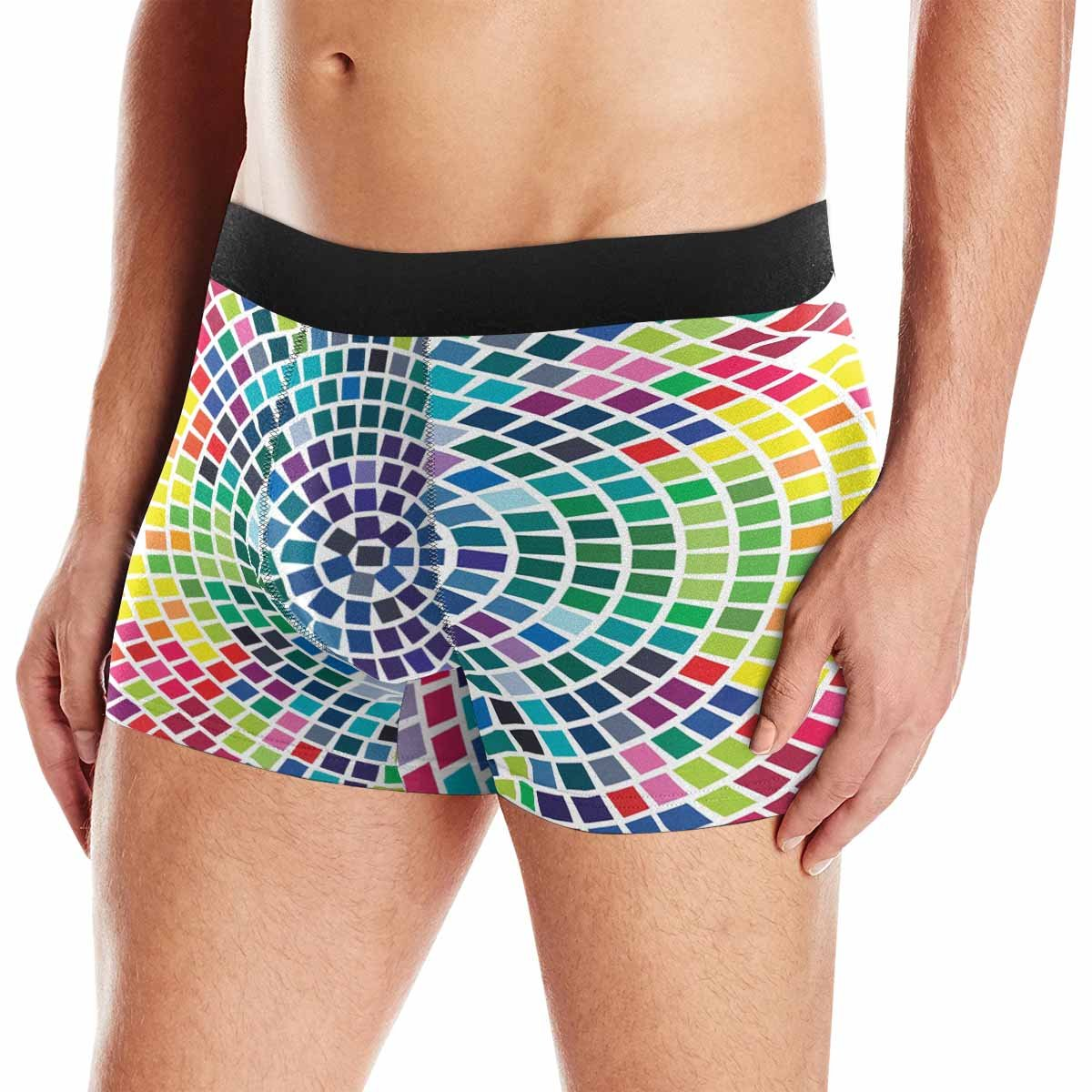 INTERESTPRINT Boxer Briefs Mens Underwear Colorful Mosaic XS-3XL