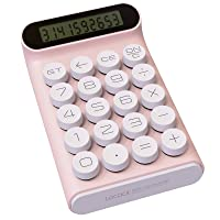 Mechanical Switch Calculator,Handheld for Daily and Basic Office,10 Digit Large LCD Display (Pink)