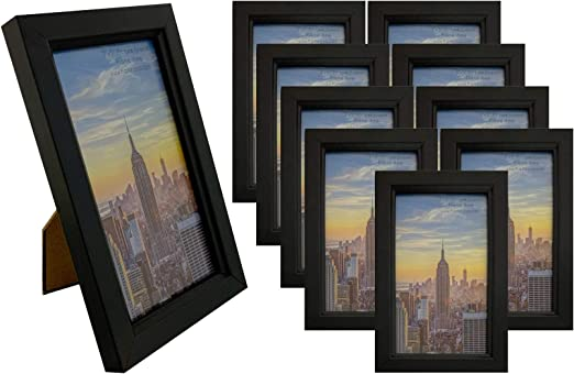 3 10 Pack Glass Front Frame Amo 5x7 Black Wood Picture Frame Wall Or Table 1 Frames Home Garden