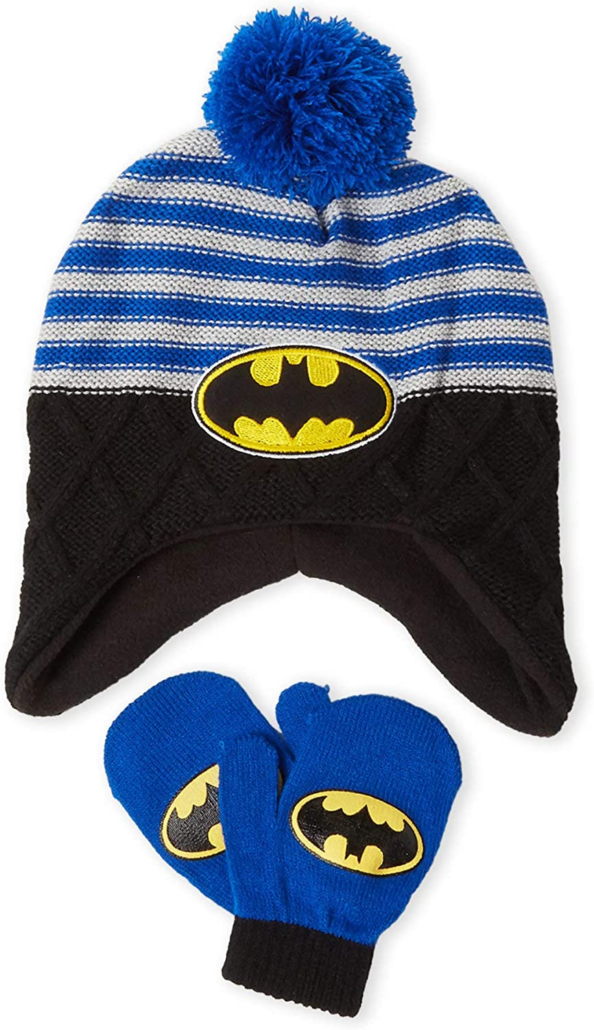 Justice League Boys or Little Boys Beanie Hat /& Gloves Set One Size Grey