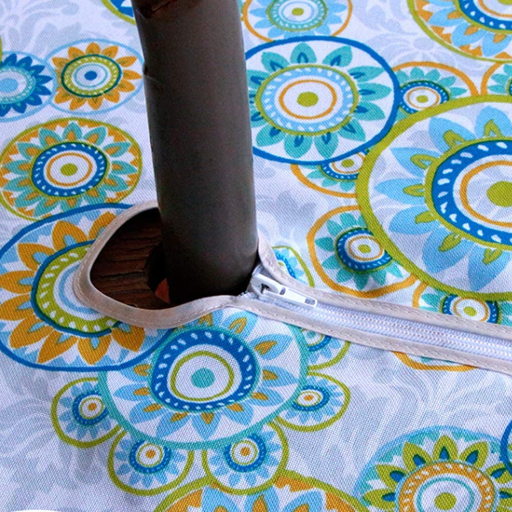 Spillproof Waterproof Round Umbrella Tablecloth Size 60 x 60 Patio Table Cover for Summer Beach Cafe Family Gardon Pool Jaoul Outdoor Umbrella Tablecloth with Zipper