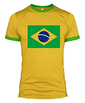 354b95cff Brazil Flag T Shirt Football World Cup Russia 2018 Fan Basil Men L254   Amazon.co.uk  Clothing