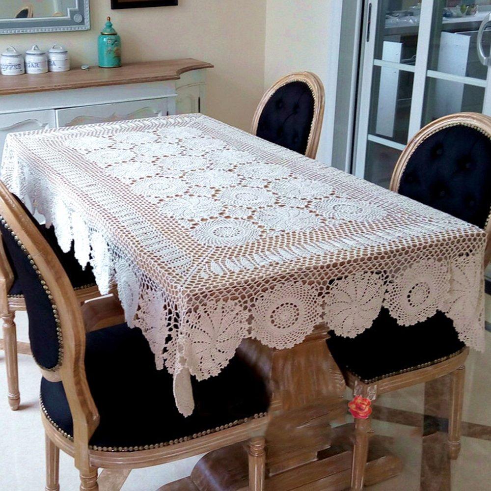 Yazi Vintage Style Tischdecke handgefertigte Häkelmütze Baumwolle Handtuch Hohl für Home Wohnzimmer Dekoration Weiß 110 x 180 cm