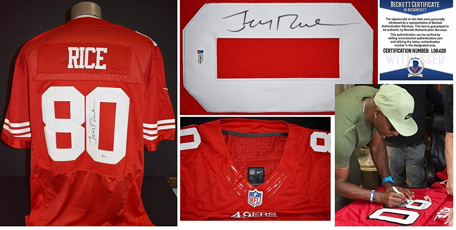591d32ad4be Jerry Rice Signed - Autographed San Francisco 49ers Authentic NIKE  Throwback Jersey - Witnessed Beckett Authentication Certificate of  Authenticity (BAS COA) ...